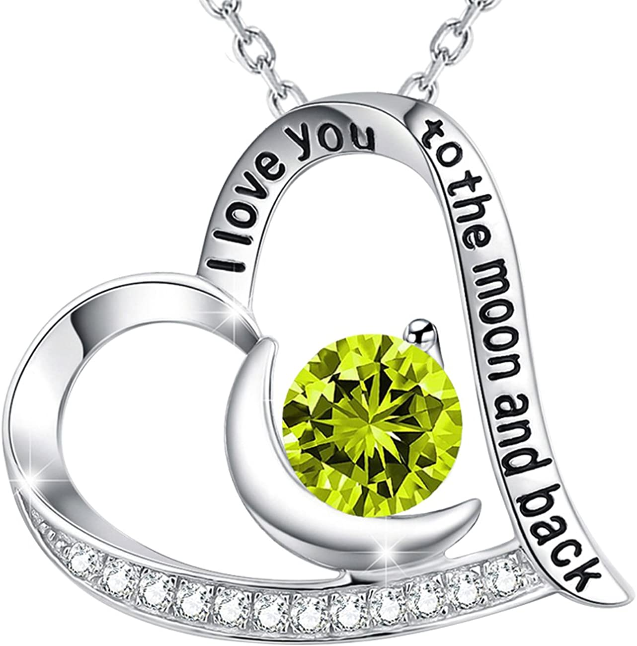 Birthday Gifts for Wife Green Peridot Necklace for Women Anniversary Gifts Love Heart Sterling Silver Emerald Necklace