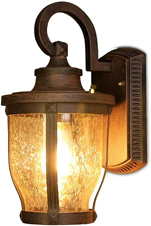 Yaione Europea retro impermeable al aire libre lámpara de pared Rust Jardín Jardín Exterior Marco exterior de estilo americano E27 Lámpara de pared de vidrio luminaria Led Villa Balcón Almacén pórtico: Amazon.es: