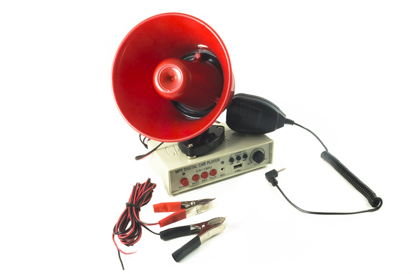 Megá fono con micró fono para coche, 12 V, con amplificador y grabadora Senza marca/Generico BES-19636