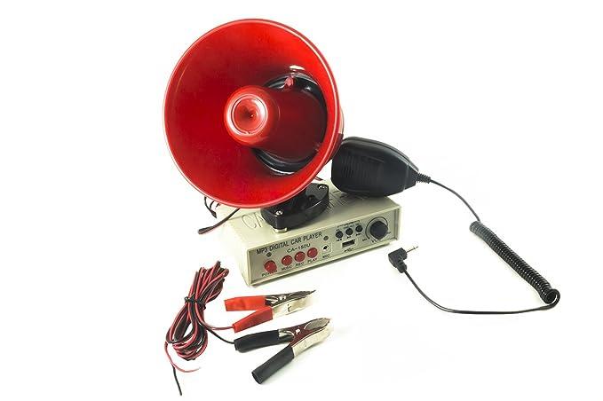 Megáfono con micrófono para coche, 12 V, con amplificador y grabadora