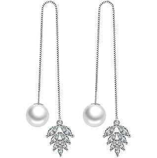 Dreamy Women Lucky Leaf Pearl Zirkonia 925 Sterling Silver Thread Earrings Crystal Earrings Hoop Earrings