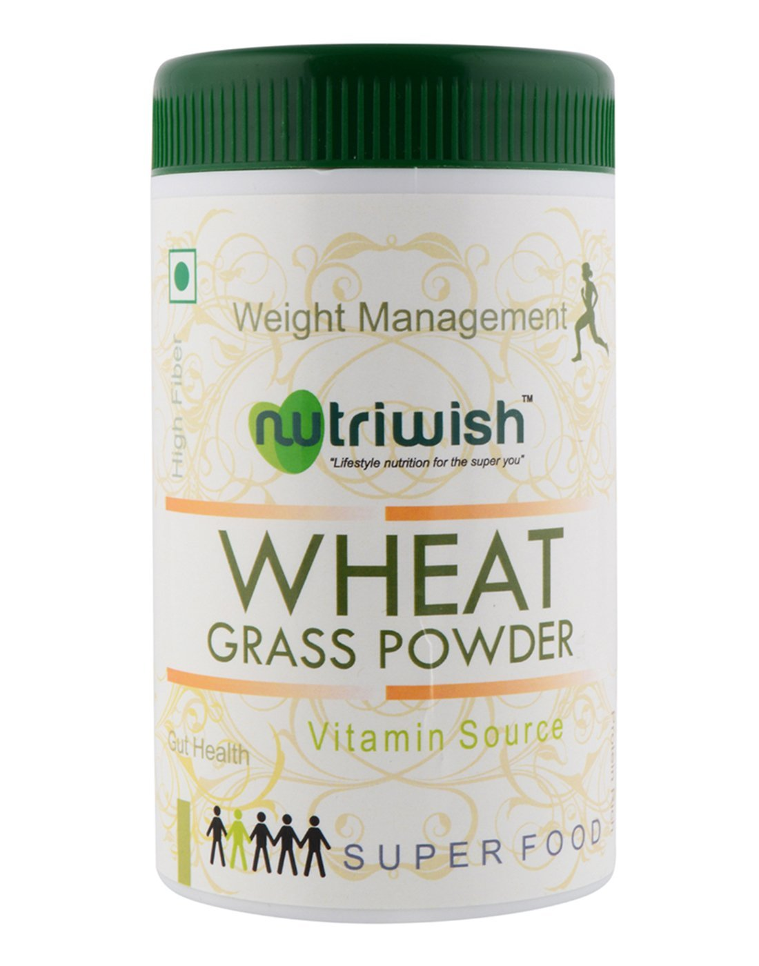 Nutriwish Wheat Grass Powder 100 gms (Reusable Packaging With Scoop) , Powerful Organic Superfood