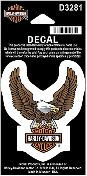 Harley-Davidson Up Wing Eagle Decal Silver LG Size Sticker D328064