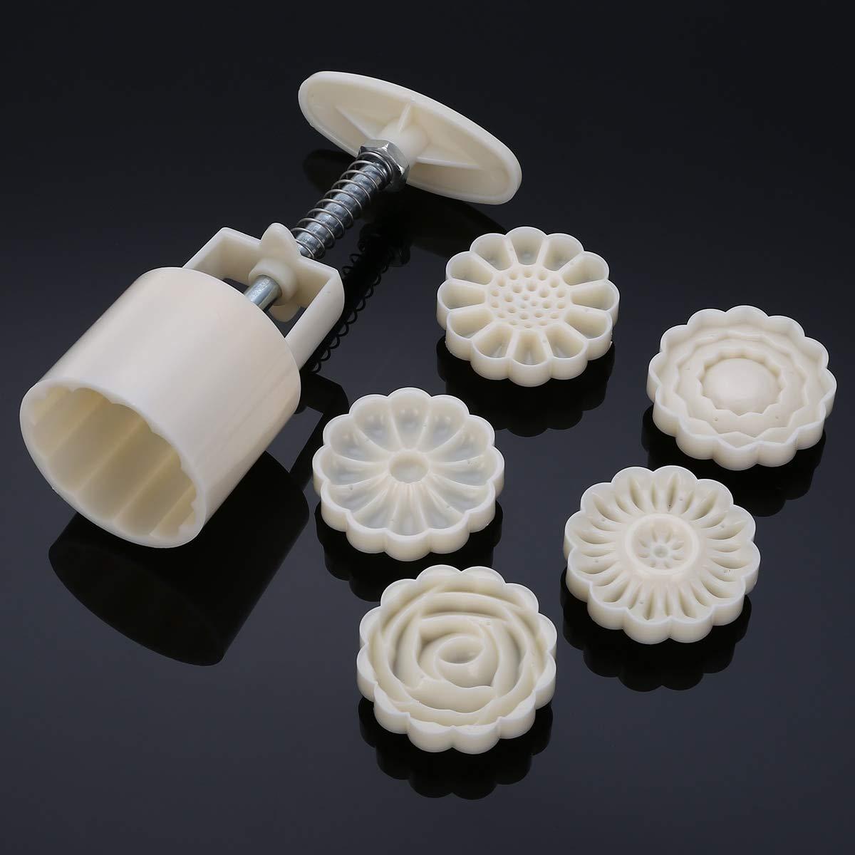 MultiBox 3D Rose Flower Mooncake Mold Mid-Autumn Festival Hand Pressure Mould DIY Tool Cookie Cutter Cake Bakeware1 Barrel +6 Stamps Set