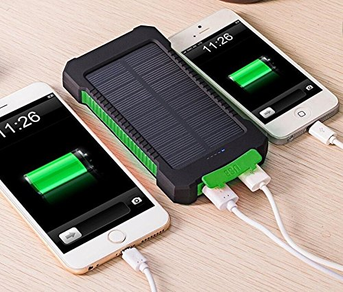 Amazon.com: Impermeable Solar Power Bank 10000 mAh Dual USB ...
