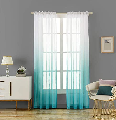 LoyoLady Turquoise Ombre Sheer Curtains 63 inches Long, Gradient Sheer Curtains for Girls Bedroom, Set of 2 Panels 42 W x 63 L Rod Pocket Nursery Drapes for Living Room