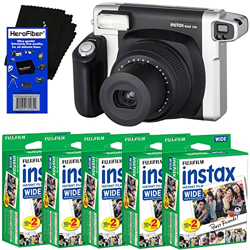 Fujifilm INSTAX 300 Wide-Format Instant Photo Film Camera (Black/Silver) + Fujifilm instax Wide Instant Film (100 Sheets) + HeroFiber Ultra Gentle Cleaning Cloth ()