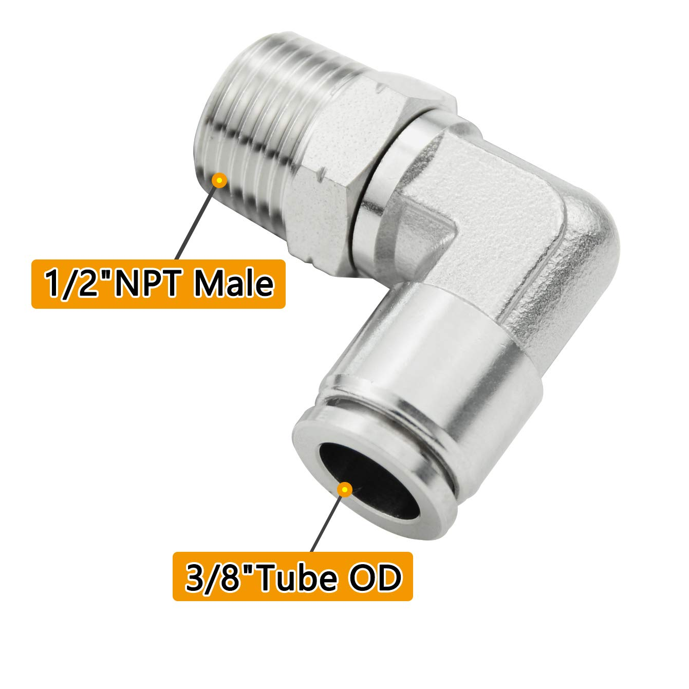 1//4 Tube OD x 1//8 NPT Male 90 Degree Elbow Adapter 304 Stainless Steel Air Union Fitting Beduan Push to Connect Fitting Elbow