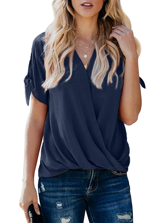 HOTAPEI Womens Casual Summer Tie Sleeve Wrap V Neck Chiffon Blouses Tops Shirts