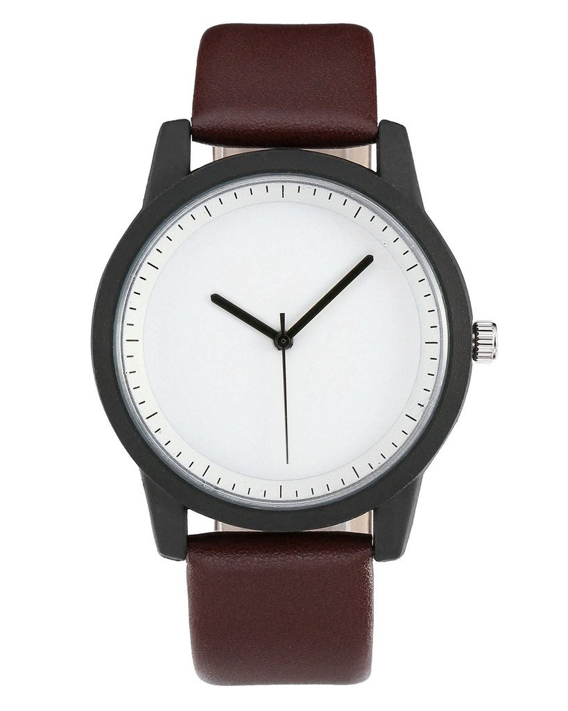 Top Plaza Unisex Simple Fashion Blank Dial Analog Quartz Black Alloy Case PU Leather Watch - Dark Brown