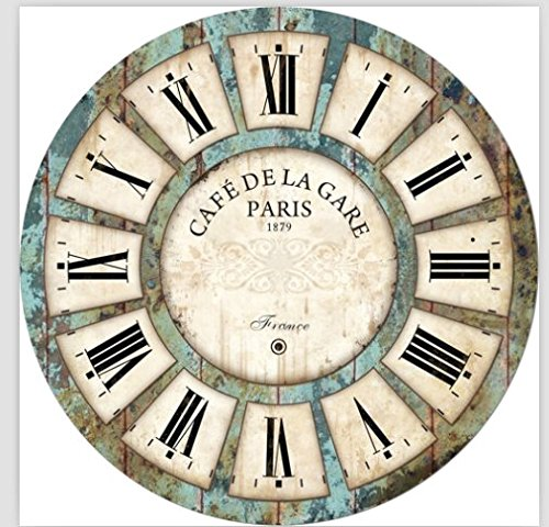 Decoration Vintage Clock Dial – Eruner France Paris Rural Tuscan Style 16-inch Wooden Wall Clock Roman Numerals Retro Decor Wall Art for Livingroom Office Cafe 16 , 03