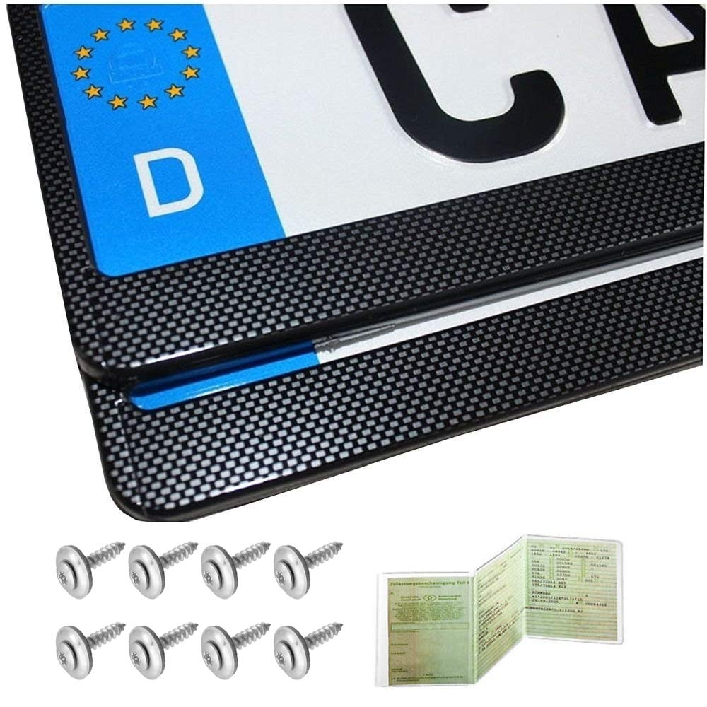 2 Kennzeichenhalter Chrom Geb/ürstet Nummernschildhalter Kennzeichenhalterung NEU /& OVP inkl.Montageanleitung und 8 Befestigungsschrauben NEU