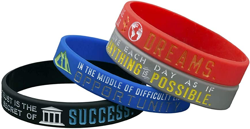 Bulk Rubber Wristband Band Set for Men Women Teens Athletes Motivational Silicone Bracelets with Inspirational Sayings Motivational Gifts Sainstone 12-Pack Success Focus Achieve