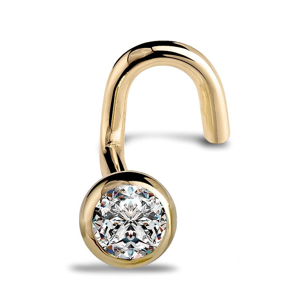 SI1 FreshTrends 14K Yellow Gold Diamond Nose Ring Twist with Bezel Setting 20 Gauge