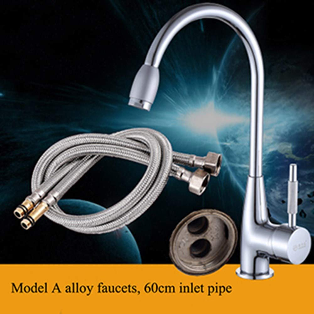 Faucet and 60cm Inlet Pipe Joeyhome 360 Degree Swivel Alloy Kitchen Mixer Cold and Hot Basin Sink Mixer Tap Kitchen Faucet with 2 Pipes,Faucet and 80cm Inlet Pipe