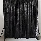 GFCC Sequin Videos Backdrop, Black Wedding Photography Backdrop, Sparkly Curtain - 20ftx10ft