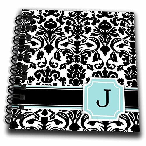 3dRose db_154359_3 Letter J Personal Monogrammed Mint Blue Black And White Damask Pattern Classy Personalized Initial Mini Notepad, 4