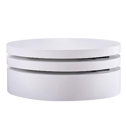 Amazoncom SUNCOO Rotating Coffee Table With Layers Save Place - Round rotating coffee table