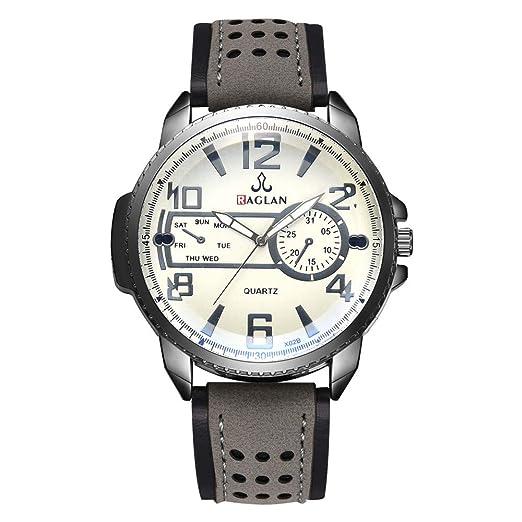 Dylung Reloj de Pulsera de Cristal Blue Ray para Hombres Jovenes Men Reloj para Hombre Retro