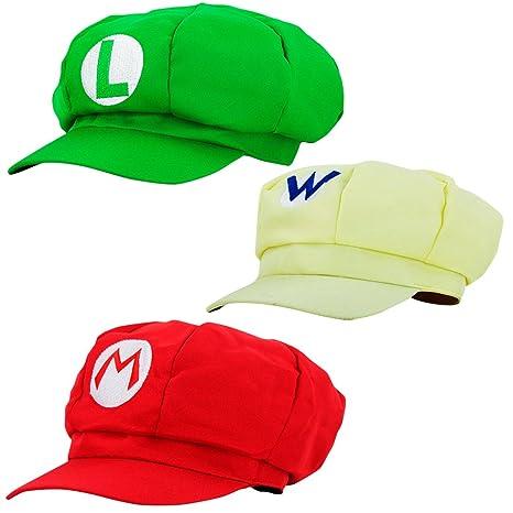 Super Mario Cappello LUIGI WARIO - Set di costumi per adulti e bambini -  Perfetto per 75cc1928eaee