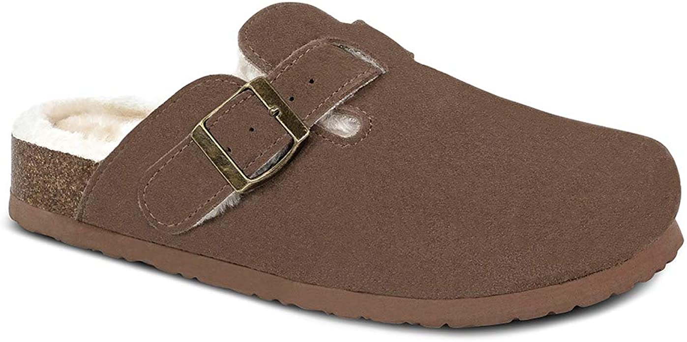 Cow Suede Leather Clogs, Soft Footbed