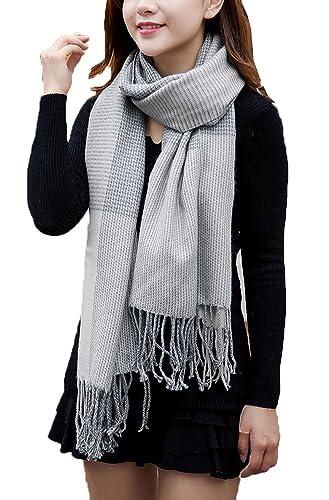 GTKC de tela Escocesa de las Mujeres m¨¢s Gruesas Costuras Suaves Bufandas de Lana Caliente de la Borla Chal
