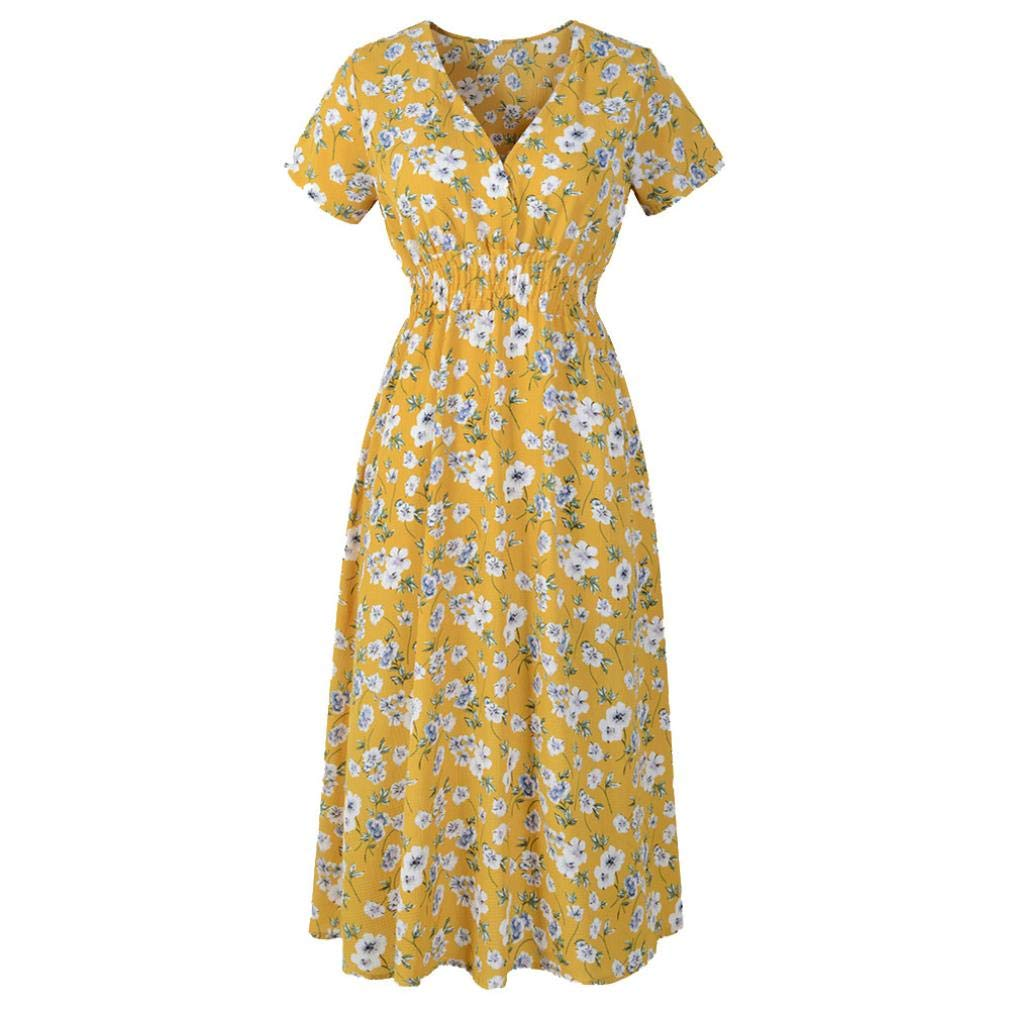 Chrikathy Women V Neck Waist Holiday Floral Print Dress for Summer Beach Party by Chrikathy Dresses