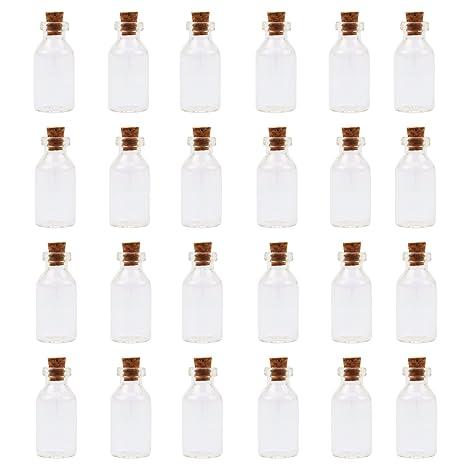 El paquete MONDAYNOON 24 Mini botellas de cristal con corcho para regalos de joyería mensaje bodas