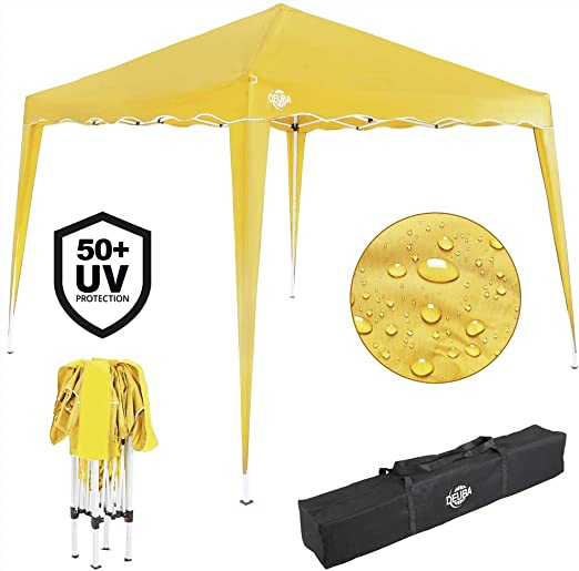 Deuba Pabellon de Jardin cenador Capri Amarillo 3x3 m Carpa Plegable de jardín Impermeable y Pop Up para Eventos Camping: Amazon.es: Jardín