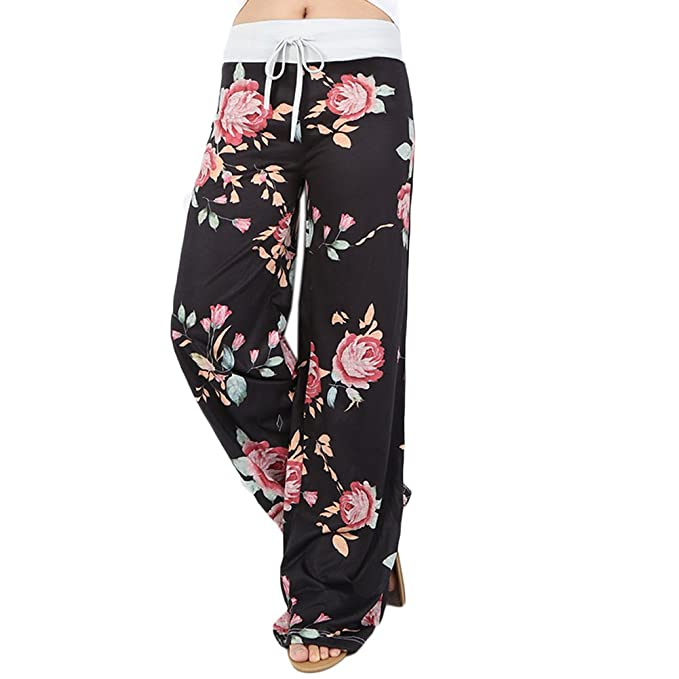 Amazon.com: ensasa Mujer Pierna Ancha Pantalones Cordón ...