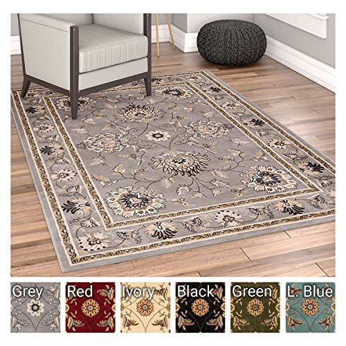 Sultan Sarouk Grey Oriental Area Rug Persian Floral Formal Traditional Area Rug 5' x 7' Easy Clean Stain Fade Resistant Shed Free Modern Classic Contemporary Thick Soft Plush Living Dining ()