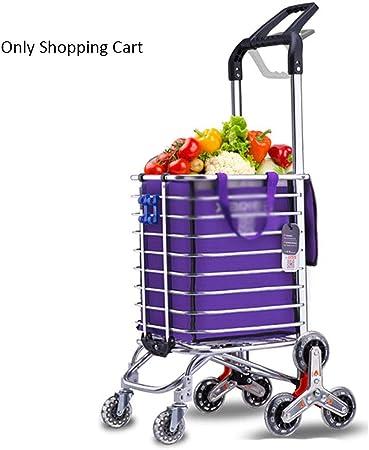 Inicio Carrito de Compras Plegable de Doble Uso Aleación de Aluminio Escalera Carretilla Carretilla Carril Ligero portátil (Color : Purple): Amazon.es: Hogar