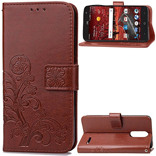 (TOTOOSE ZTE Grand X 4 Case, ZTE Grand X 4 Wallet Case, Case slim, Premium Slim Leather Wallet Back Case with Credit Card ID Holder Protective Cover for ZTE Grand X 4,Brown)