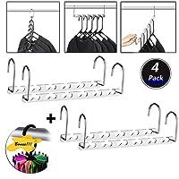 Space Saving Hanger Clothes Hangers Magic Hanger 360 Swivel Keep Your Clothes Organized Wrinkle-Free. 4 Pack Wardrobe Metal Hanger,1 Pack Tie Rack Belt Hanger Hook