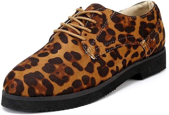 Zapatos Planos con Cordones Mujer Brogue Zapato Talón
