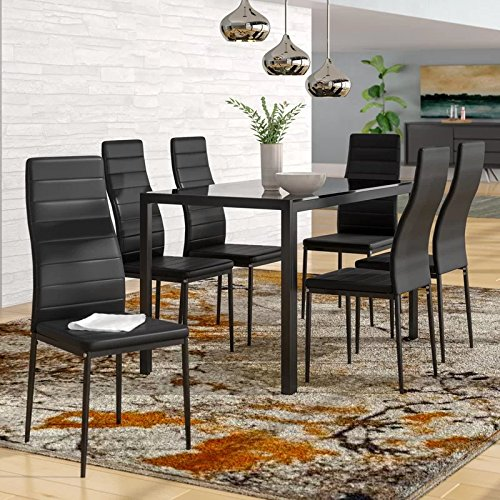 IDS Online 7 Pieces Modern Glass Dining Table Set Faxu Leather With 6 Chairs Black. (Black Dining Room Table With White Chairs)