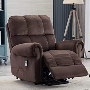 Peciafy Power Lift Recliner Chair - Comfortable Thickened Fabric Lifting Recliner for Elderly with Remote Control- Single Modern Sofa Chair with Massage/Heat for Living Room - Chocolate