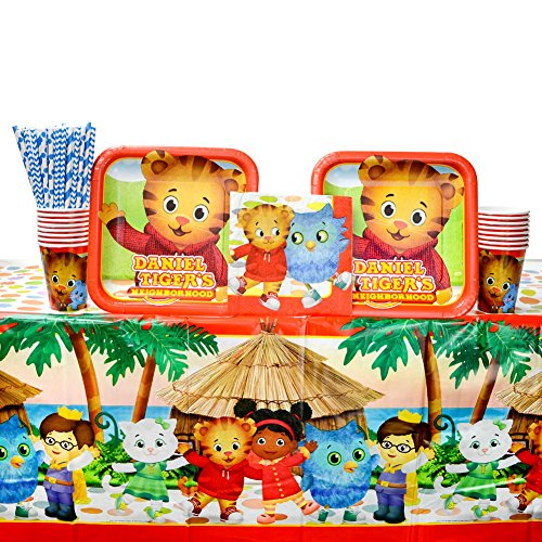 Daniel Tiger's Neighborhood Party Supplies Pack for 16 Guests: Straws, Dinner Plates, Luncheon Napkins, Table Cover, and Cups