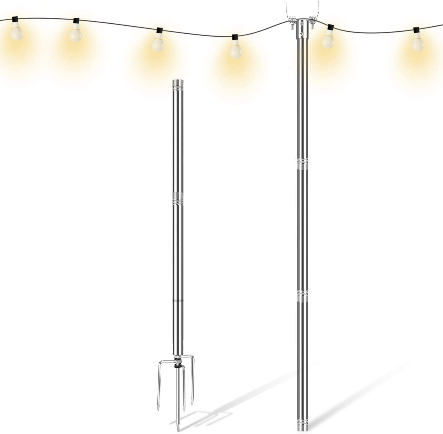 Endim Light Pole - Outdoor 10 FT Light Pole for String Lights - Outside Stainless Steel String Lights Pole for Yard Garden - String Lights Pole Stand for Night Wedding and Party - 1 PCS