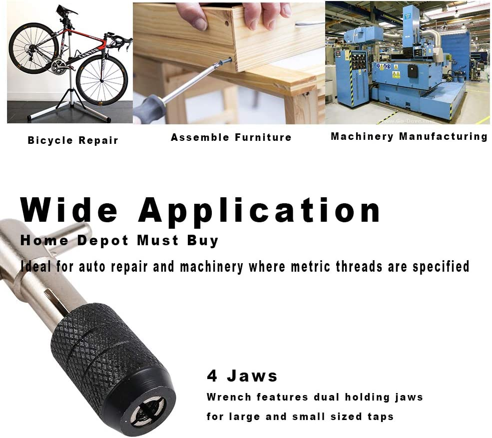 Wrench is Not Include MIGHTYDUTY 3 Pcs Bearing Steel Metric Screw Thread Metric Plug Tap Set M5 M6 M10 Straight Hand Tap Drill Mountain Road Bike Repair Tools