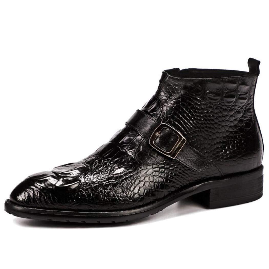Zxcer zapatos de Cuero para hombres Patrón de cocodrilo de Cuero Moda zapatos de Boda zapatos de Cuero Brillante zapatos de Cuero Antideslizante Business negro negro