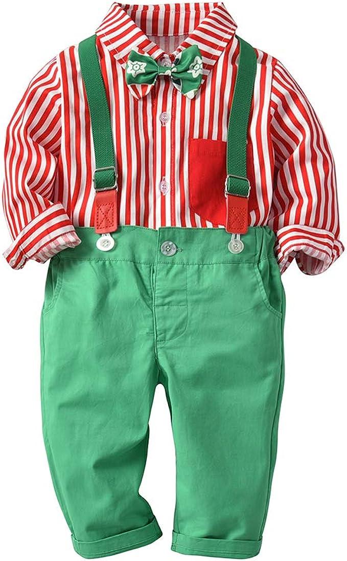 ALLAIBB Niños pequeños bebés 2pcs Conjunto Traje Formal Camisa Bowtie Suspender Pantalones: Amazon.es: Ropa y accesorios