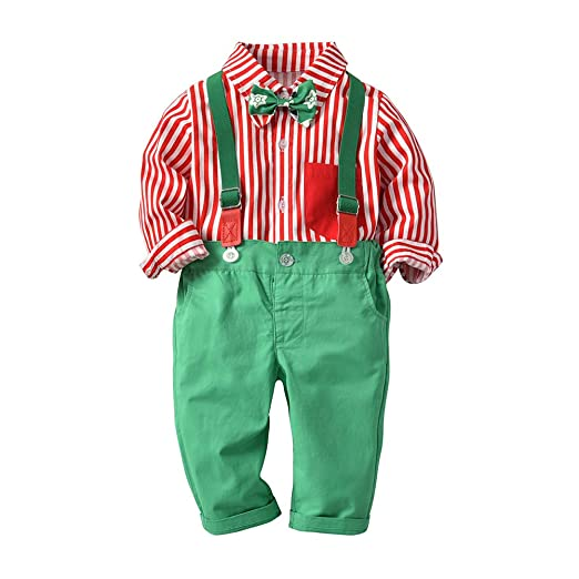 633eb646165 AIKSSOO 2Pcs Toddlers Baby Boys Outfit Set Bowtie Stripe Shirt+Suspender  Pants Size 9-