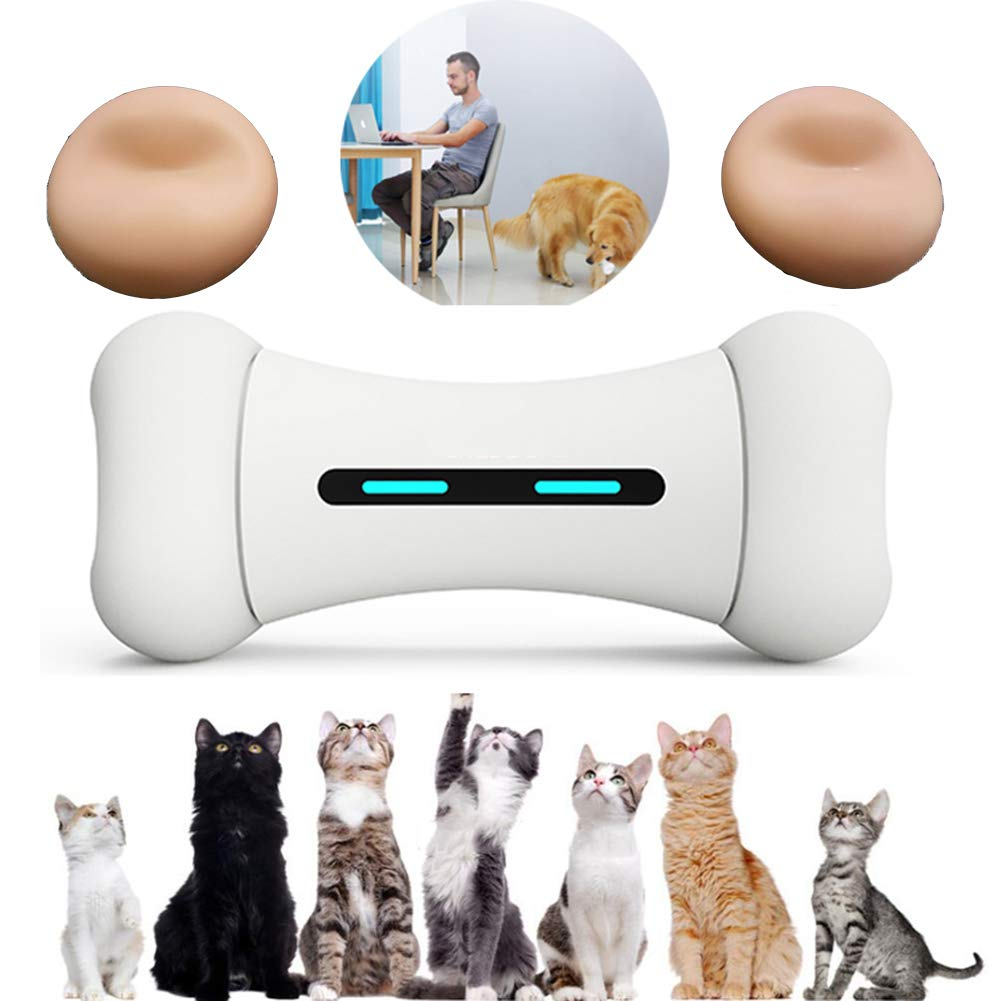 Bones+PinkTire Cat and Dog Smart Toy Bone Your pet Friend Release Emotions Toy Washable 5 Wheel color Options,Bones+PinkTire