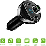 FM Transmitter for Car with USB Flash Drive, Actpe Car MP3 Player FM Transmitter Modulator with USB TF Slot Mic & Hands free Calls for iPhone 8 7 Plus, Samsung Galaxy S8 S7 S6 Edge Note Tab, Android