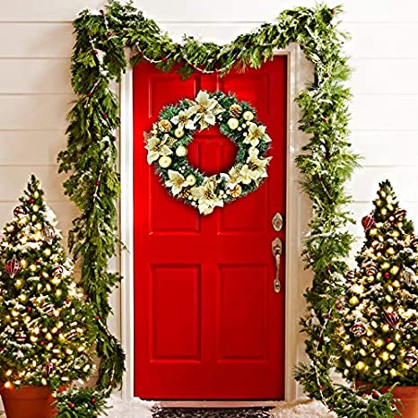 Christmas Decoration Indoors.Gold Christmas Wreath For Indoors Outdoors And Front Door Decor X Mas Hanging Decorations Christmas Wreaths Holiday Table Centerpiece Comes In