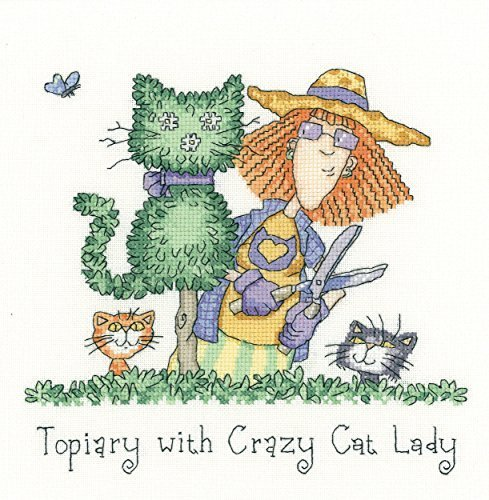 Heritage Crafts Topiary With Crazy Cat Lady Counted Cross Stitch Kit - Aida by Heritage