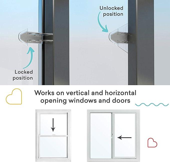 3 M adhesivo puerta corredera cerradura para patio, armario, ventanas, RV, a prueba de bebés, seguro de los niños, 4 unidades: Amazon.es: Bebé