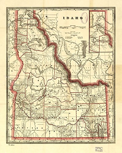 1896 Map of Cram's township and railroad map of Idaho. Indexed township and county map showing relief by hachures, drainage, and cities and towns. Railroads are distinguised by color. Idaho, United States (Idaho Relief Map)