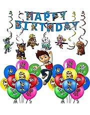 TaoQi Verjaardagsfeestje Decoratie Ballon Set Poot Patrouille Thema Met Happy Birthday Banner En Paw Patrol Hangende Figuren